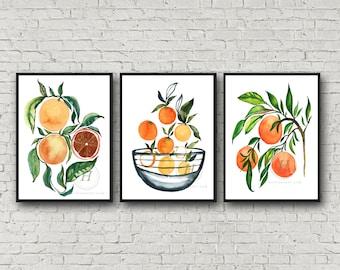 Orange Fruit Watercolor Print set of 3