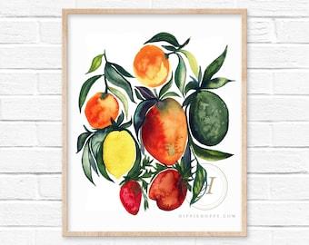 Fruits Watercolor Print