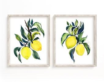 Lemons Watercolor Prints Set of 2