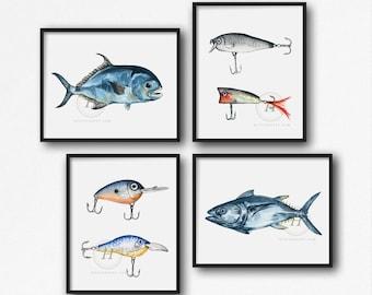 Fishing Wall Art set of 4 by HippieHoppy