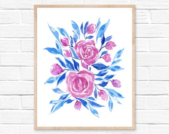 Blue and Pink Floral Watercolor Print No.11, Watercolor Floral Art, Watercolor Flowers, Abstract Watercolor Floral, Wall Art, Floral Artwork