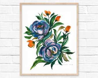 Flowers Watercolor Print by HippieHoppy