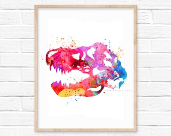 Dinosaur Bones Watercolor Print