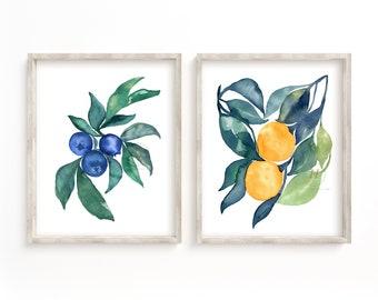 Blueberry Orange Watercolor Print set of 2