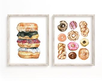 Donut Print Set of 2, Watercolor Print