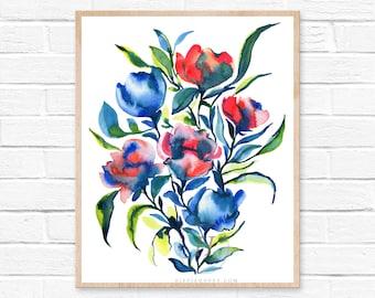 Flowers Watercolor Print
