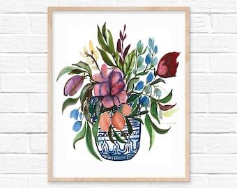 Flowers in Ginger Jar Watercolor Print