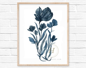 Flower Blue Watercolor Print