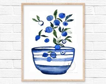 Blueberries in Bowl Watercolor Print