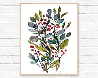 Christmas Leaves Watercolor Print