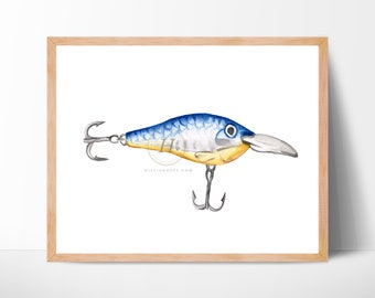 Fishing Lure Watercolor Print Unframed