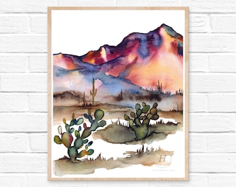 Arizona Desert, Watercolor Print