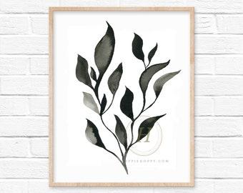 Black Leaf Watercolor Print, Unframed