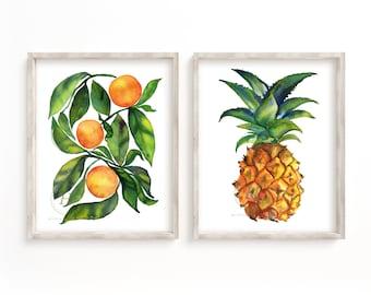 Large Orange and Pineapple Print set of 2