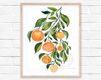 Large Orange Watercolor Print by HippieHoppy