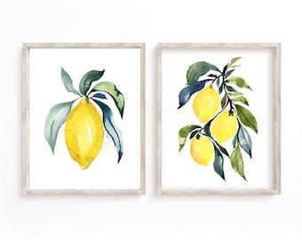 Lemon Watercolor Prints by Hippiehoppy