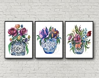 Flowers in Jar set of 3 by HippieHoppy