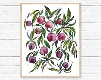 Large Cherry Watercolor Print Fruit Art Modern Art