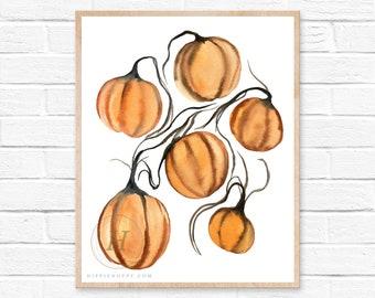 Pumpkin Patch Watercolor Print