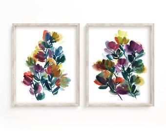 Flower Set of 2 Watercolor Prints