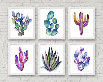 Large Colorful Cactus Watercolor Prints Set of 6