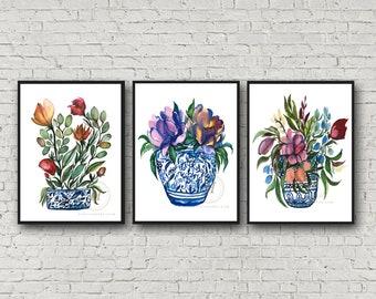 Florals in Jar Print set of 3 by HippieHoppy