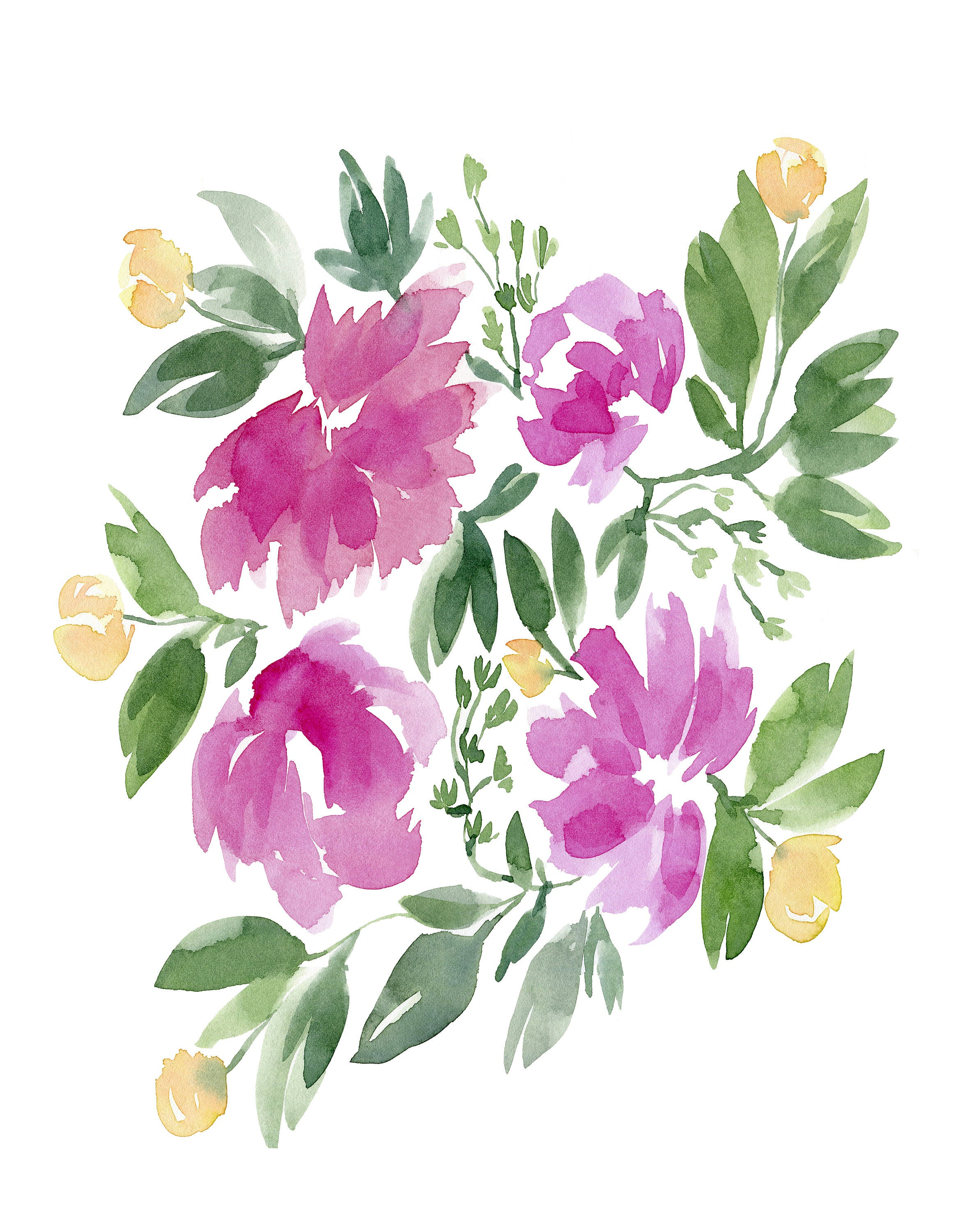 Pink And Yellow Flowers No1103 Watercolor Print Watercolor Floral