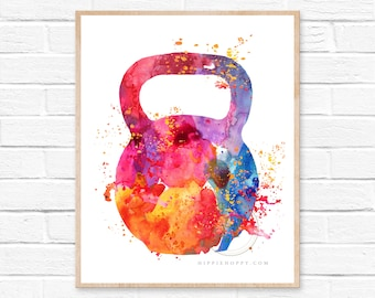 Large Fitness Kettlebell Watercolor Print