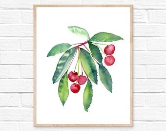Large Cherry Kitchen Wall Art Print