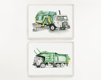 Trash Truck Watercolor Print Set of 2 Side Loader and Front Loader