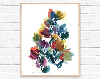 Flower print, Watercolor abstract floral art, Unframed