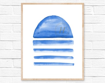 Blue Abstract Watercolor Art, Unframed