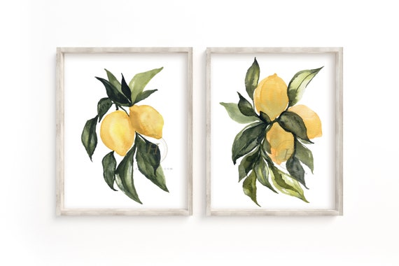 Fruit Watercolor Painting Prints Set of 2 by HippieHoppy
