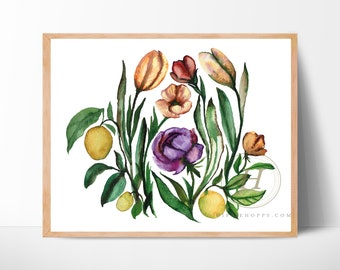 Flowers with Fruit Watercolor Art Print by HippieHoppy