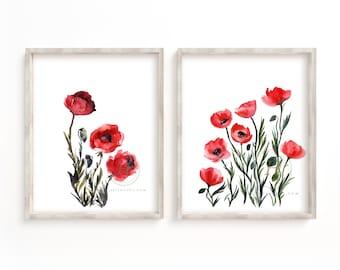 Poppy Watercolor Art prints set of 2 by HippieHoppy