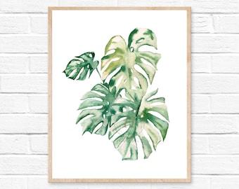 Monstera Plant Watercolor Print