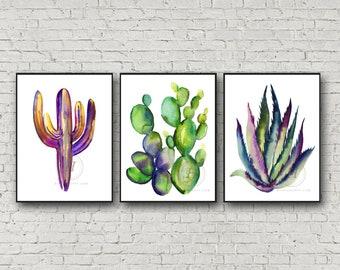 Cactus Watercolor Prints set of 3