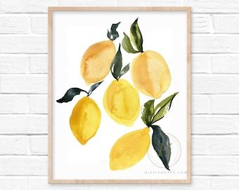 Yellow Lemons Watercolor Print