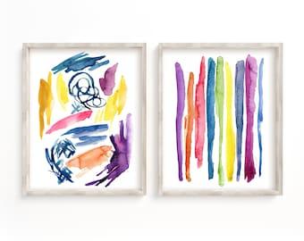 Abstract Watercolor Prints set of 2
