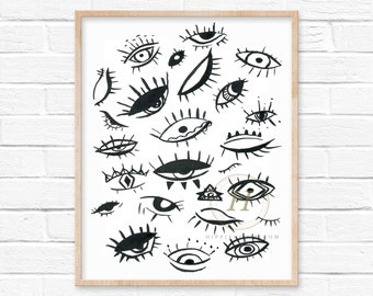 Evil Eye Watercolor Art Print