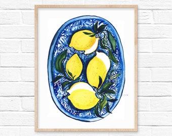 Lemon Watercolor Art Print by HippieHoppy