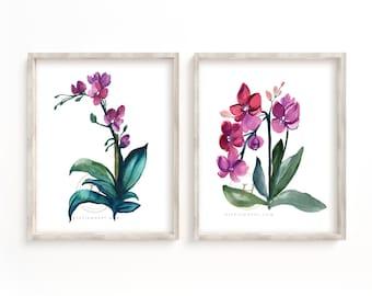 Large Orchid Watercolor Print Set