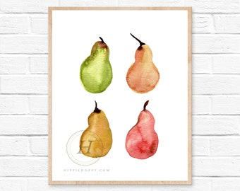 Pears Watercolor print by HippieHoppy