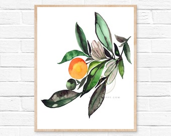 Orange Tree Watercolor Painting