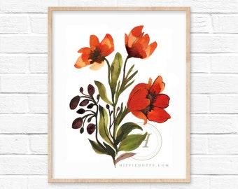 Flowers Art Watercolor Print