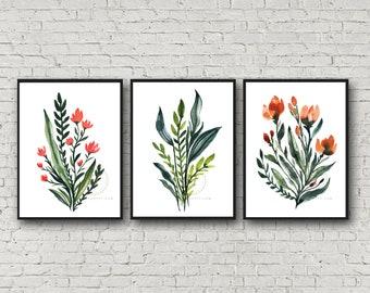 Flower Watercolor Prints Set