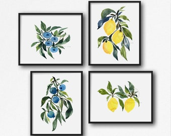 Lemons and Blueberries Watercolor Print Set of 4