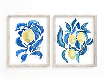 Lemon Watercolor Prints set of 2