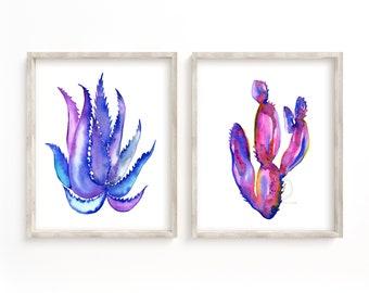 Large Cactus Watercolor Print set of 2