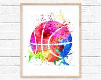 Large Basketball Watercolor Art Print